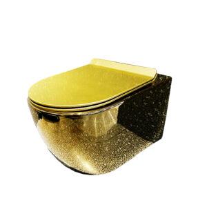 złota toaleta podwieszana